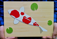 Tiny sparks design wood crafting indie art koi printkey holder on bamboo