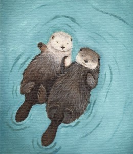 cute-otter-art-print-holding-hands by WhenGuineaPigsFly