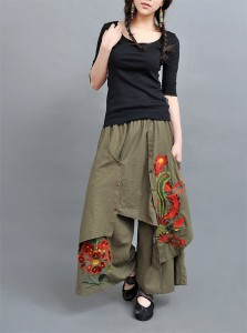 multi-layered-embroidered-wide-leg Skirt
